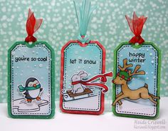 Lawn Fawn - Winter Penguin + coordinating die, Winter Bunny + coordinating die, Critters in the Snow, Birthday Tags, Tag You're It Lawn Cuts die, Stitched Hillside Borders, Snow Day 6x6 paper _ adorable tag set by Heidi via Flickr - Photo Sharing!