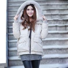 Bengen Winter Short Women's Fashion Casual Hooded Down Jacket ...