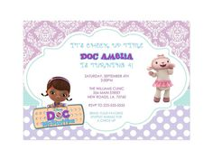 Doc McStuffins Birthday Invitations #docmcstuffins #party