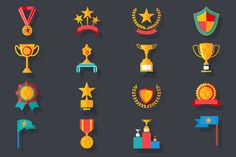 Victory Trophy Award Icons by Meilun on Creative Market