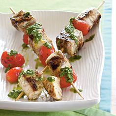 Our Best Recipes for Grilled Fish  | Swordfish Skewers with Cilantro-Mint Pesto | MyRecipes.com