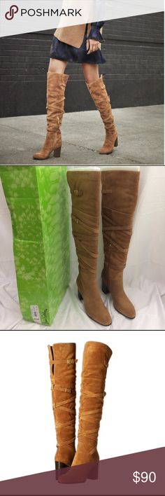 """NEW Sam Edelman Sable Boots Brand new with original packaging Sam Edelman over the knee suede boots. Style:sable. These are a tan color with gold zipper pulls.Criss-cross buckled strap detailing. Suede upper, synthetic lining, rubber sole---Fits true to size, order your normal size! 3.25"""" heel Sam Edelman Shoes Over the Knee Boots"""