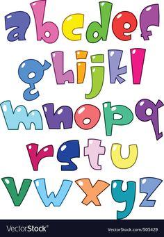 Cartoon alphabet vector image on VectorStock Hand Lettering Alphabet, Doodle Lettering, Graffiti Alphabet, Creative Lettering, Graffiti Lettering, Brush Lettering, Handwritten Fonts, Calligraphy Fonts, Letras Cool