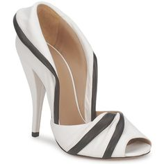Kalliste Burro Black & White Peep Toes.  White shoes are very dangerous with me (like a tom boy in heels really) but these are the cutest with the fold over collar.