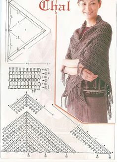 Hourglass is a big, beautiful triangle-shaped shawl worked from top to down. You will love the original combination of simple crochet stitches and delicate lacy look of this shawl. Crochet Shawl Diagram, Poncho Au Crochet, Mode Crochet, Crochet Shawls And Wraps, Crochet Chart, Knitted Shawls, Crochet Scarves, Easy Crochet, Crochet Clothes