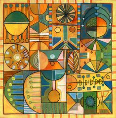 Michèle Brown Artist - The Old Cells Studio: Lines and circles on holiday - acrylic painting on wood