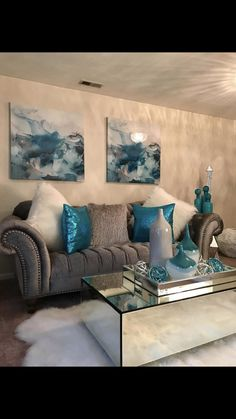Interior Living Room Design Trends for 2019 - Interior Design Decor, Home Decor Inspiration, Home Living Room, Teal Living Rooms, Home Decor, Apartment Decor, Couch Furniture, Living Room Grey, Silver Living Room