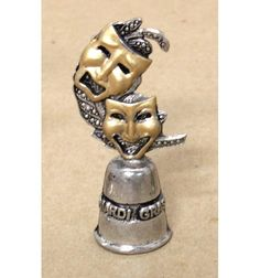 """The top of the thimble is comedy & tragedy masks. Pewter, gold painted highlights.2.5"""""""
