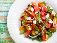 watermelon and tomato salad with feta, arugula, and onion. Many ways to eat and enjoy watermelon Watermelon Tomato Salad, Feta Salad, Watermelon Recipes, Sweet Watermelon, Berry Salad, Quinoa Salad, Heart Healthy Recipes, Raw Food Recipes, Salad Recipes