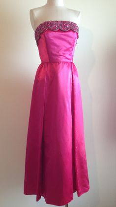 d9eb96b83b85 Items similar to Vintage 1960's hot pink material girl marilyn era Mike  Benet formals dress M on Etsy