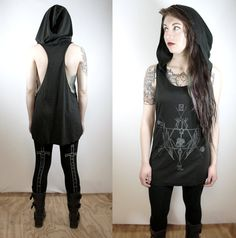 PRE-ORDER The Witching Hour tank black w/ skeleton creature print grey