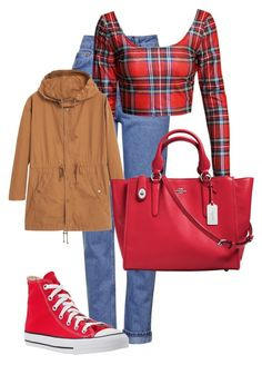 """""""red kisses"""" by zeeeoooeee ❤ liked on Polyvore featuring Topshop, Converse, MANGO and Coach"""