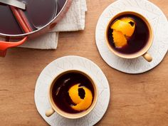 Mulled Wine recipe from Ina Garten via Food Network - Halsey's Xmas Party Half the apple cider Didn't use the orange juice or the orange zest All other quantities were great  Put it into a crock pot on low, took about 45 minutes to heat up and then set it on warm for the party.