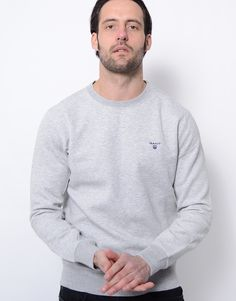 1c5241322152 Gant Contrast Logo Crew Neck Sweatshirt Light Grey Melange Terraces