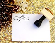 Custom Return address stamp. Custom return address stamp with arrows at KnotAndNestDesigns
