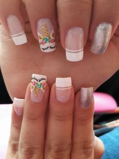 Unhas delicadas, cabelo e unhas, unhas bonitas, unhas lindas, ideias para u Unicorn Nails Designs, Unicorn Nail Art, Love Nails, Pretty Nails, My Nails, American Nails, Nagel Hacks, Cute Nail Art, Halloween Nail Art