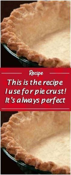 Pie crust Serves: Makes 2 pie crusts Ingredients: 2 cups all-purpose flour, sifted 1 teaspoon salt cup butter or cup shortening (we used Crisco) 5 tablespoons cold water Directions: Put flour into a mixing bowl with the Homemade Pie Crusts, Pie Crust Recipes, Pastry Recipes, Baking Recipes, Quick Pie Crust Recipe, Pie Pastry Recipe, Pie Crust Recipe With Crisco And Butter, Recipe For Pie Dough, 3 Ingredient Pie Crust Recipe