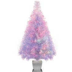 "Holiday Time Artificial Christmas Trees Pre-Lit 32"" Fiber Optic Artificial Tree, White, Color Change Lighting - Walmart.com"
