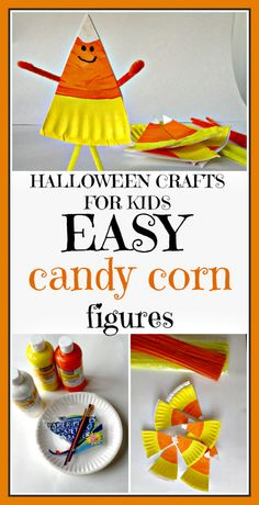 CANDY CORN PAPER PLATE CRAFT - Such a fun kids craft project that uses Basic craft supplies to create a cute Candy corn character. Check out these storybooks about candy corn that you can add to the activity. Halloween Crafts For Kids, Craft Projects For Kids, Fun Crafts For Kids, Halloween Activities, Toddler Crafts, Preschool Crafts, Fall Crafts, Halloween Fun, Craft Kids