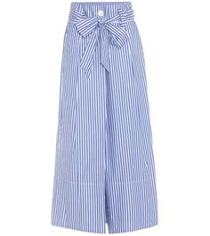 BY MALENE BIRGER - Bennih striped cotton culottes - By Marlene Birger's Bennih culottes are crafted from lightweight cotton for a summery appeal, with blue and white pinstripes that lend a nautical touch. We love how the high-waisted silhouette features a charming oversized self-tie belt. Team yours with a crop-top and leather sandals. - @ www.mytheresa.com