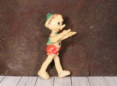 Vintage Toy Pinocchio - Russian Plastic Doll Pinocchio - Pinocchio - Hard Plastic Pinocchio - Buratino - Soviet Toy 60s - Jointed Doll