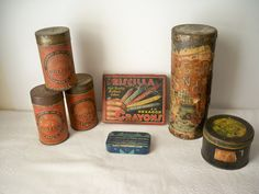 1930s Vintage Household Products Advertising Tins set of 7 of  home products all made in USA by VintageFindsbySuzi on Etsy