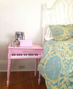 Transform a toy piano into a nightstand.