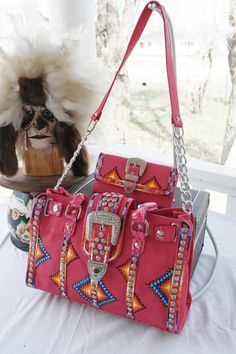 Rez Hoofz Hand Painted Purse and Wallet set by REZHOOFZ on Etsy, $149.95