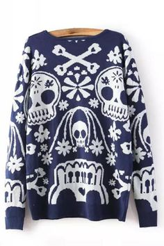 Round Neck Long Sleeve Skeleton Print Sweater