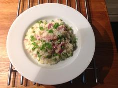Ham, Pea and Parmesan Risotto  Very tasty and fresh risotto recipe for kids and adults, a great comfort food dish but nice enough for a dinner party.