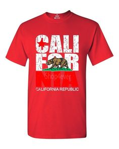 California Republic Vintage T-shirt State Flag Shirts red