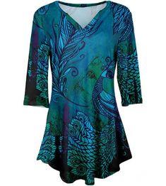 7e6091f3f39 Simply Aster Blue & Green Peacock Three-Quarter Sleeve Tunic - Women & Plus