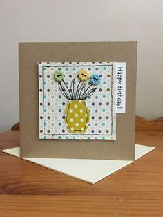 Handmade sewn thank you card made using Moda fabrics and buttons Fabric Postcards, Fabric Cards, Homemade Birthday Cards, Homemade Cards, Textiles, Patchwork Cards, Applique, Freehand Machine Embroidery, Sewing Cards