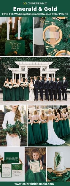2019 fall wedding color palettes-emerald green and gold, emerald green bridesmaid dresses, flower girl dresses and wedding invitations and table decorations in gold accent color. #colsbm #bridesmaids #emeraldgreendress #weddingideas #emeraldgreenwedding b959