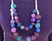 Necklace of colored paper pulp beads-tzofeltgood on Etsy Colored Paper, Crochet Necklace, Etsy Seller, Jewelry Making, Beads, Trending Outfits, Unique Jewelry, Handmade Gifts, Creative
