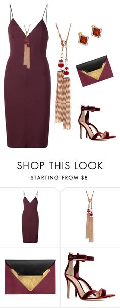 """""""ISHOW Wine Tassle Necklace"""" by ishowyoushowhy on Polyvore featuring T By Alexander Wang, Dareen Hakim and Gianvito Rossi"""