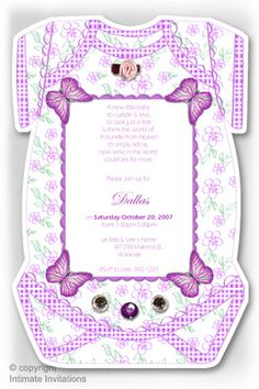 Bodysuit invitation Butterflies ribbon rose and rhinestones, Purple Flower Patterns, Color Patterns, Craft Outlet, Ribbon Rose, Mailing Envelopes, First Baby, Baby Shower Invitations, Blue Flowers, Thank You Cards