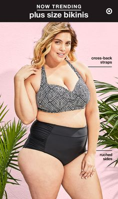 Vacation season is here, so why not suit up in a retro-inspired,high-waist bikini? This plus-size swimsuit's black-and-white patterned halter top and black bottoms with ruched sides ensure a flattering fit—the top's cross-straps in back offer extra support, and the high-waist bottoms stylishly draw attention to your curves.