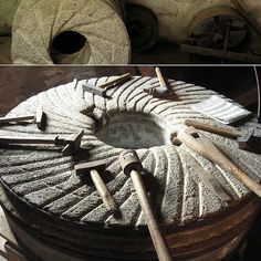 Mühlsteine Smock mill in Turnow Millstones Agaves, Medieval, Old Windmills, Ceramic Texture, Flour Mill, Composition Art, Water Mill, Stove Oven, Cooking Equipment