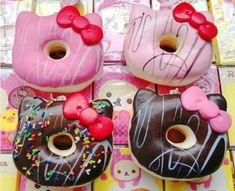 Hello Kitty doughnuts! the real japan, real japan, hello kitty, hello, kitty, kitty chan, japan, japanese, cartoon, character, anime, animation, mascot, chara, sanrio, tour, travel, explore, trip, adventure, gifts, merchandise, toys, dolls http://www.therealjapan.com/subscribe/