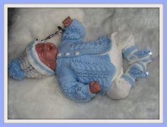 Knitting Pattern No.04 Premature Boy's Matinee Set