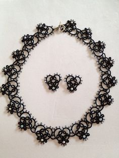 Heart. Vintage black tatted lace necklace, bracelet and earring. on Etsy, £120.00