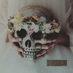 flowers, skull, and grunge image