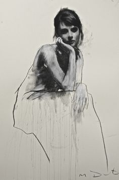 Hannah seated, pastel & collage 32ins x 46ins. | Mark Demsteader | mark demsteader