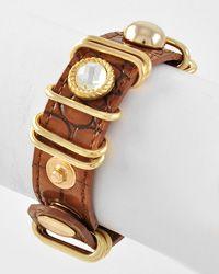 Gold Tone / Lt. Brown Animal Print  / 2 Size Snap Button  Bracelet