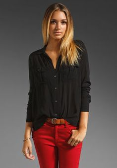 Shop for James Perse Double Needle Work Shirt in Black at REVOLVE. Free day shipping and returns, 30 day price match guarantee. Cute Black Shirts, Casual Outfits, Cute Outfits, James Perse, Work Shirts, Black Button, Revolve Clothing, Black Tops, High Fashion