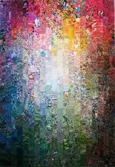 Finish # 4 for (Exuberant Color) Batik Quilts, Scrappy Quilts, Quilting Projects, Quilting Designs, Quilting Ideas, Liberty Quilt, Watercolor Quilt, Charm Quilt, Rainbow Quilt