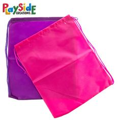 Bright Pink & Purple Nylon Drawstring Bags