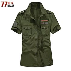 Military Shirts in Alternative Fashion Men Cotton Short Sleeve Casual Slim Fit Air Force One Cargo Shirts, Loose Shirts, Loose Tops, Men Shirts, Shirt Men, Casual Shirts For Men, Casual Shorts, Men Casual, Military Fashion