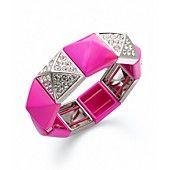 Juicy Couture Bracelet, Silver-Tone Fuchsia Pyramid Stretch Bracelet